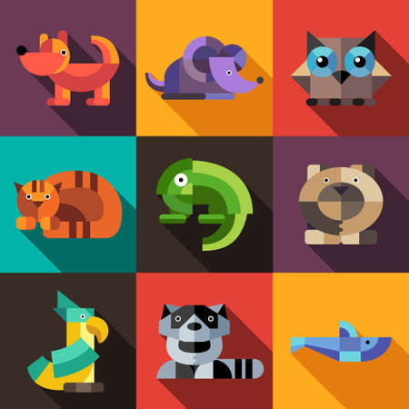Set vector of flat design geometric animals icons Çizim