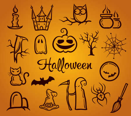 Illustration of vector retro graphical composition with Halloween elements Vector