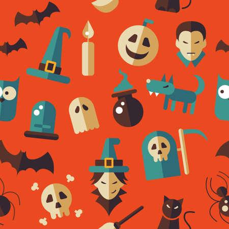 Illustration of vector flat design Halloween pattern Vector