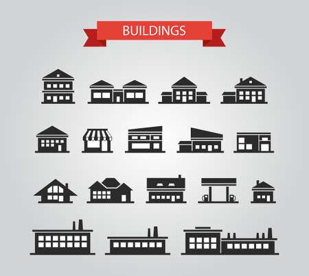フラットなデザインの建物のピクトグラムのセット  イラスト・ベクター素材