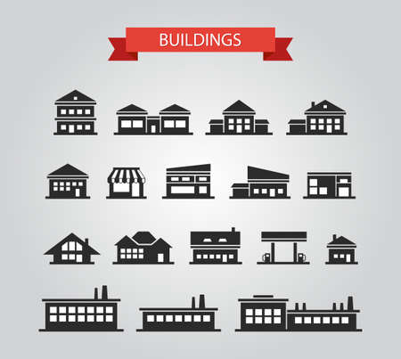 house series: Set of flat design buildings pictogram Illustration