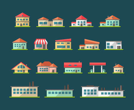 headquarter: Set of flat design buildings pictogram Illustration