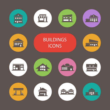 business symbols: Set of flat design buildings pictogram Illustration