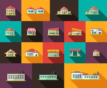Set of flat design buildings pictogram Illustration