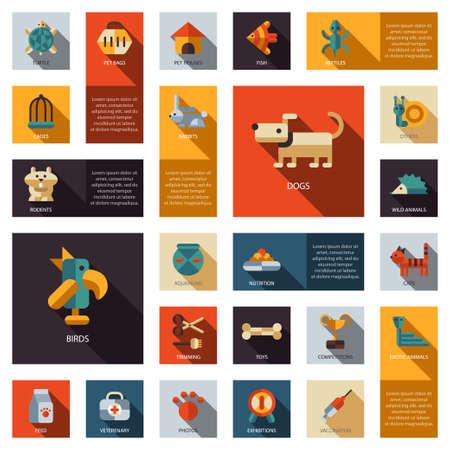 toy shop: Set of flat design pet shop icons