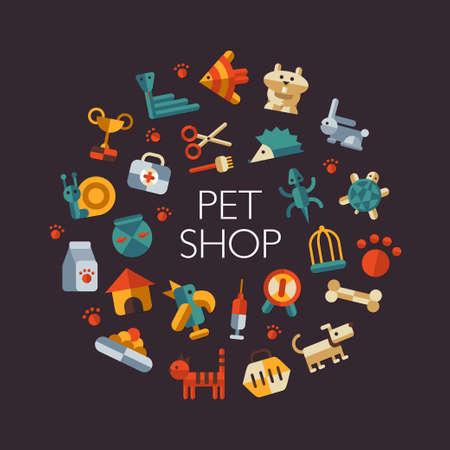 평면 디자인 애완 동물 가게 아이콘의 집합 일러스트