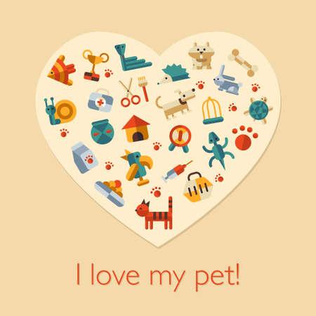 Illustration of vector flat design pets composition Vector