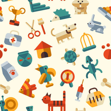 Vector illustration of flat design pattern with pets icons Vector