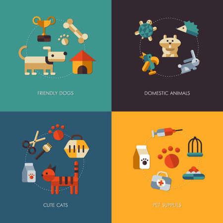 Illustration of vector flat design pets compositions Vector