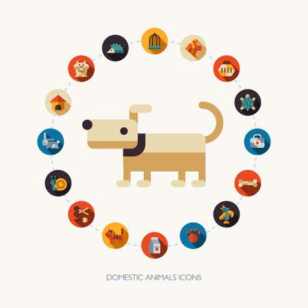 cat carrier: Set of vector flat design pet shop icons