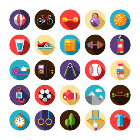Set of flat design sport, fitness and healthy lifestyle vector icons Vector