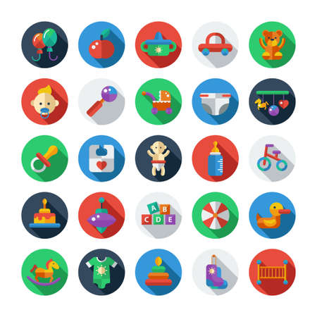 Set of flat design cute baby vector icons Çizim