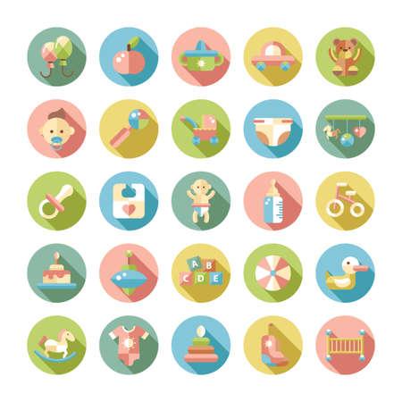 teteros: Conjunto de diseño de pastel plano iconos vectoriales bebé lindo Vectores
