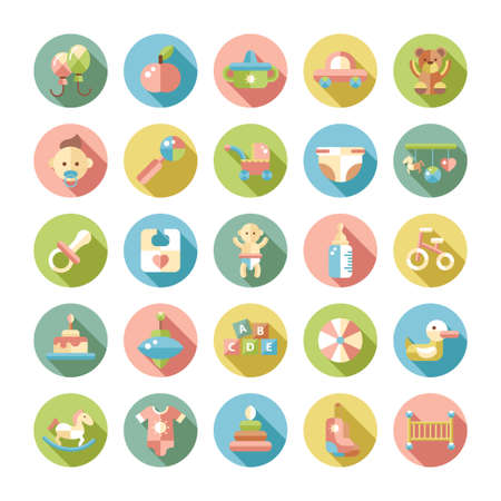 baby bear: Set of flat design pastel cute baby vector icons