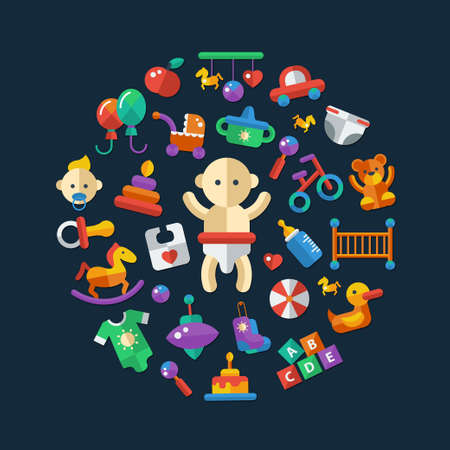 cute teddy bear: Set of flat design cute baby vector icons Illustration