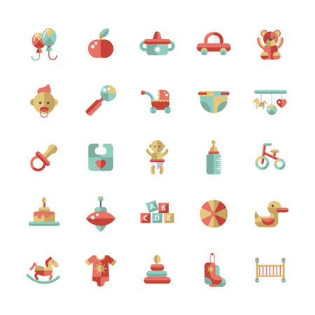 Set of flat design pastel cute baby vector icons Vector