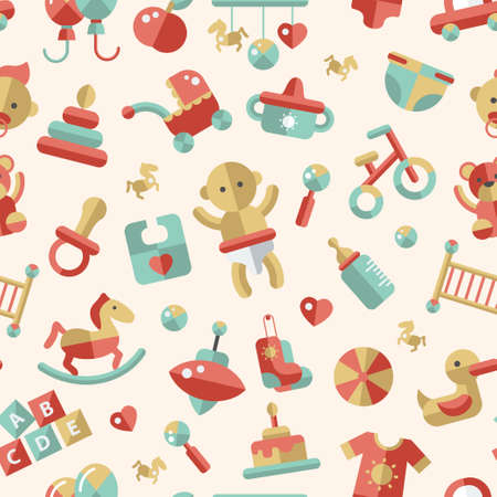 toys pattern: Illustration of vector flat design cute baby pattern with icons