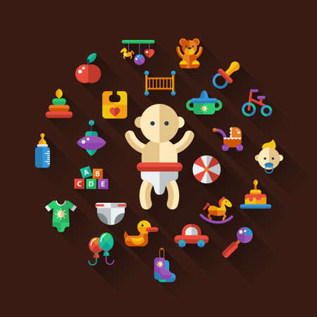 kids toys: Set of flat design cute baby vector icons Illustration