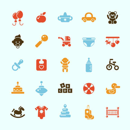 Set of flat design cute baby vector icons Vector