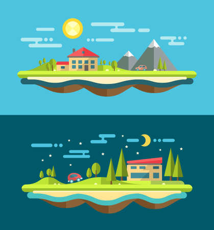 house series: Modern flat design conceptual vector landscape illustration with buildings
