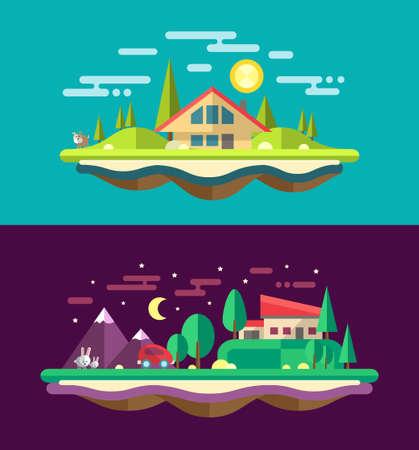Modern flat design conceptual vector landscape illustrations with buildings Vector