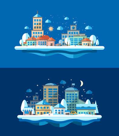 Illustration of vector flat design urban winter landscape compositions Vector