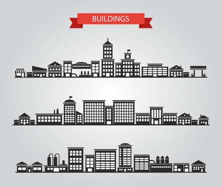 edificio: Conjunto de edificios de diseño plano vector pictogramas