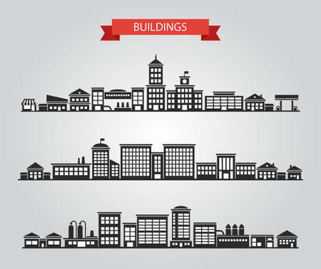 office building exterior: Set of vector flat design buildings pictograms