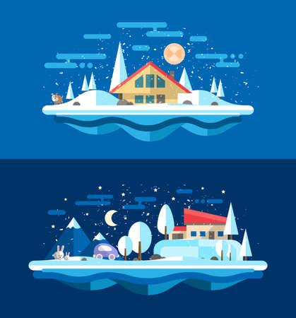 alleys: Illustration of vector flat design urban winter landscape compositions