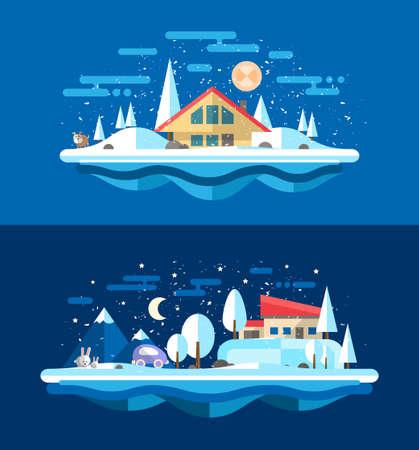 city alley: Illustration of vector flat design urban winter landscape compositions