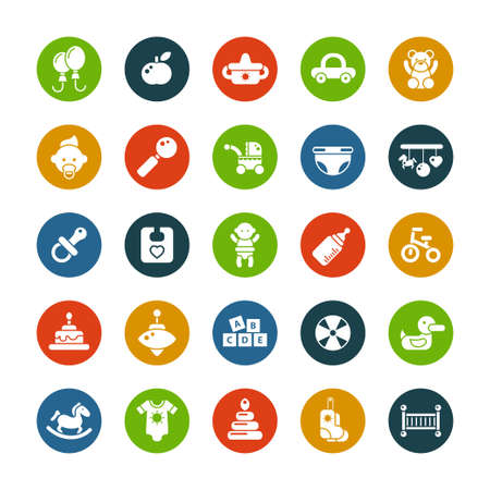 Set of flat design cute baby vector icons Illustration