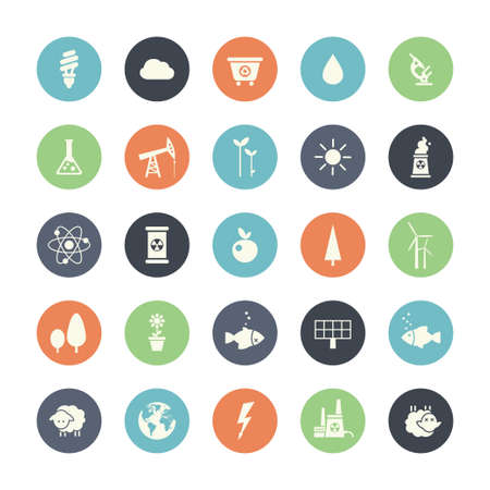 elements of nature: Modern vector flat design conceptual ecological icons