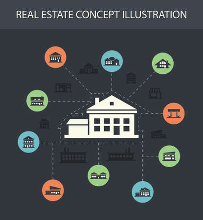 headquarter: Illustration of vector buildings flat design composition with icons
