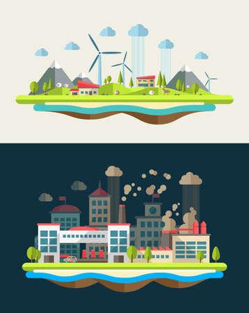 Modern vector flat design conceptual ecological illustration Vector
