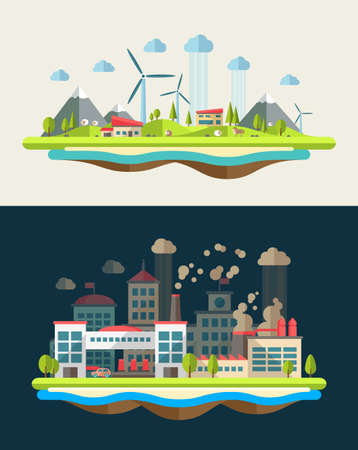 ecosistema: Vector moderno diseño plano conceptual ilustración ecológica Vectores
