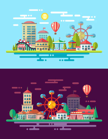 amusement park black and white: Modern vector flat design conceptual city illustration with carousels Illustration