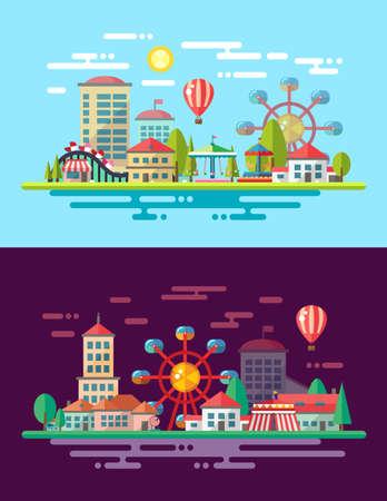 Vecteur moderne design plat ville conceptuelle illustration avec carrousels Banque d'images - 33522086