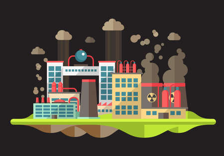 air pollution cartoon: Modern vector flat design conceptual ecological illustration with factories