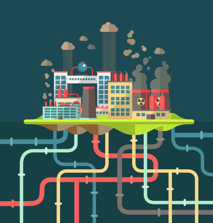 Modern vector flat design conceptual ecological illustration with factories