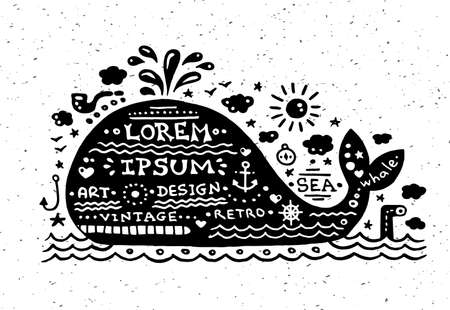 Illustration of vector vintage grunge label with whale Vector