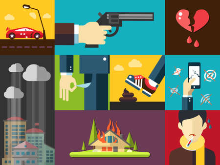 sick boy: Set of vector modern flat design mens bad things icons for your design