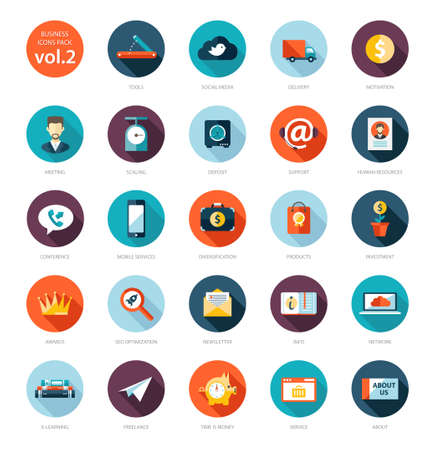 e money: Set of modern flat design business vector infographics icons