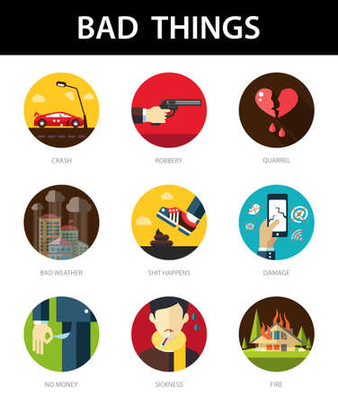 in trouble: Set of vector modern flat mens bad things icons for your design