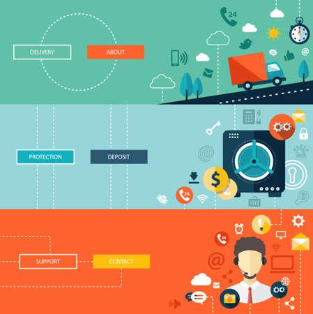 apoyo social: Conjunto de dise�o plano modernas infograf�as vectoriales negocio plantillas Vectores