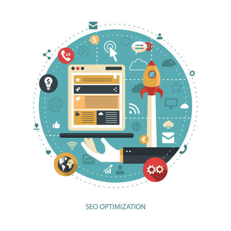 Illustration of vector flat design business illustration with seo optimization composition Çizim