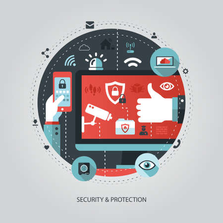 mobile security: Illustration of vector flat design business illustration with security composition