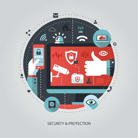 seguridad social: Ilustración de vector de diseño plano Ilustración de negocio con la composición de seguridad Vectores