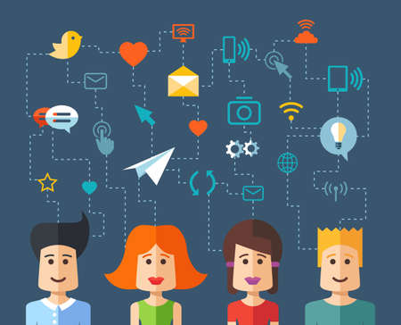 character set: Illustration of vector isolated flat design people social network composition with icons
