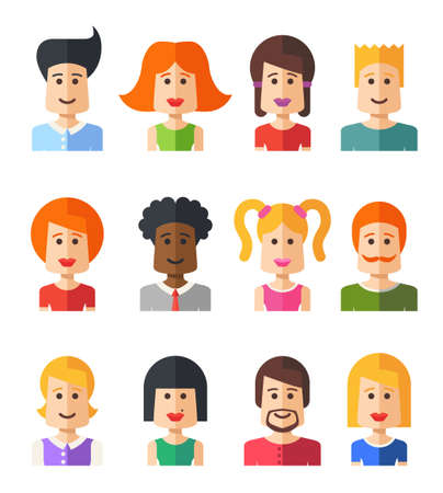 white people: Set of vector isolated flat design people icon avatars for social network and your design