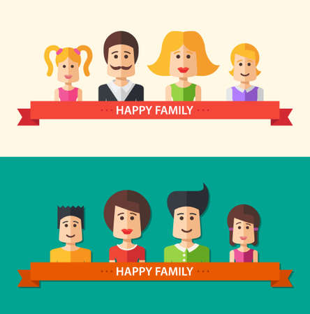 happy family isolated: Set of vector isolated flat design happy family icon compositions for social network and your design